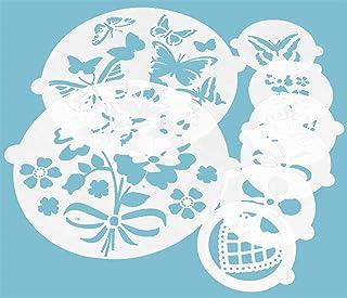 EACHPT 6pcs Pochoirs à Gâteaux tapis dimpression fondant Pochoirs De Pulvérisation De Fleurs De Gâteau Pour Outils De Cuis...