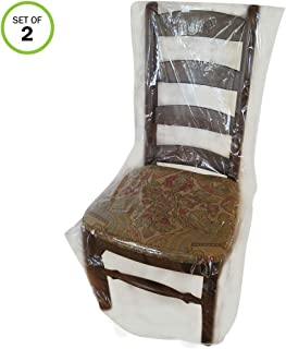 Evelots Dining Room Chair Protector-Clear-No Dust/Spill/Pet Hair/Pet Claws-Set/2