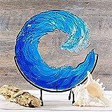 GLRWZQY 12 Inch Fused Glass Ocean Suncatcher Ornament Glass Wave Sun Catcher, Blue Wave Sculpture, Ocean Waves Art Wall Hanging Ornament for Home Room Wedding Decor