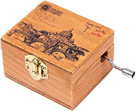 Personalizable Music Box, Wooden Music Box Castle in The Sky Hand Crank Horse Carousel Music Box for Boys, Laputa Castle in The Sky