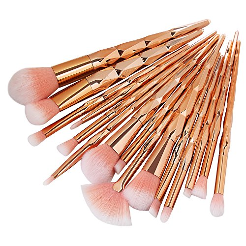 15 Pcs Pinceaux Maquillages Brosse a Maquillage, Pinceau Fond de Teint Ombre à Paupières Eyeliner Yeux Visage Poudre Cosmétiques Brosse