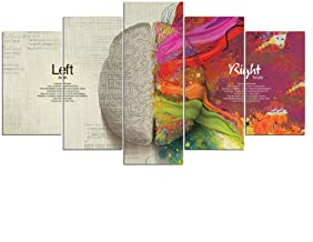 Wall art Five canvas painting Canvas Pictures Artworks HD Printed 5 Pieces English Letter Left And Right Brain Abstract Pa...