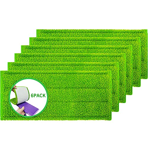 Microfiber Mop Pads 6 Pack Fit Swiffer WetJet Reusable and Washable Microfiber Mop Pad Refills Cleaning of Wet or Dry Floors Fitting for Home/Office Cleaning Supplies
