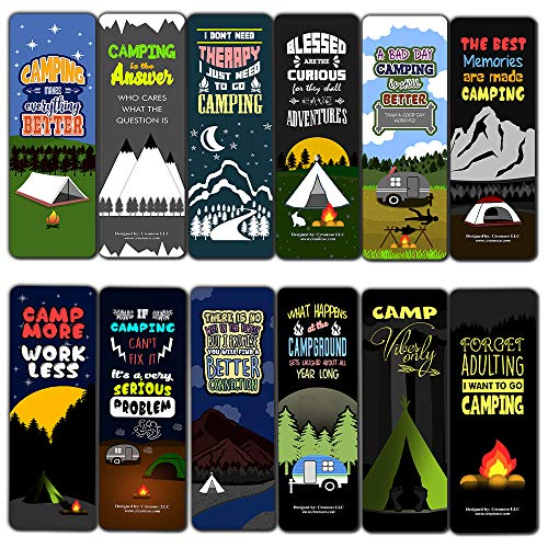 Creanoso Funny Camping Sayings Bookmarks (12-Pack) – Premium Gift Collection Set – Stocking Stuffers Ideas for Campers Adult Men Women – Six Bulk Assorted Bookmarks Designs – Giveaway Tokens