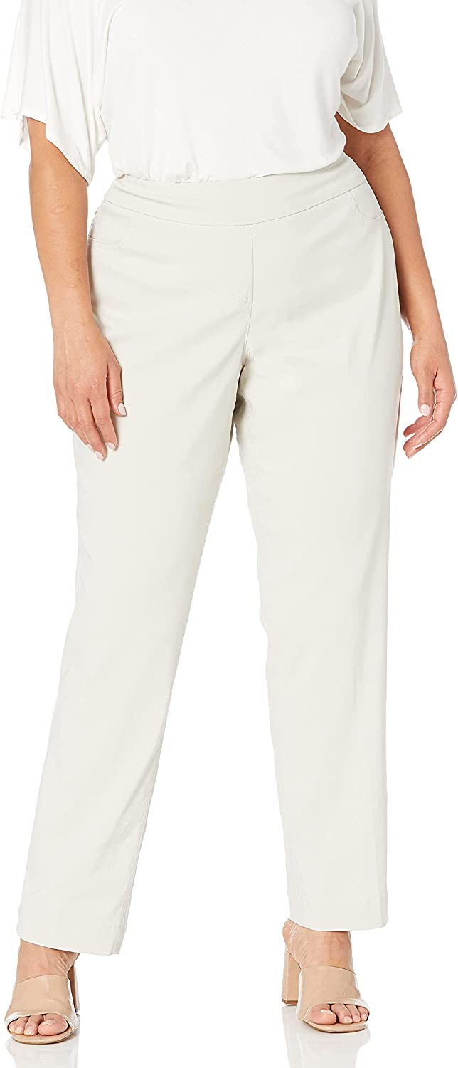 SLIM-SATION Women's Plus-Size Wide Band Pan Pull-on Leg OFFicial mail order Straight Fresno Mall