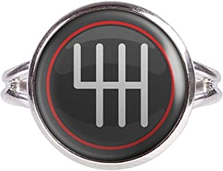 Mylery Ring with Cabochon Picture Shift knob Shift Stick H Circuit Speed Manual Silver Different Sizes