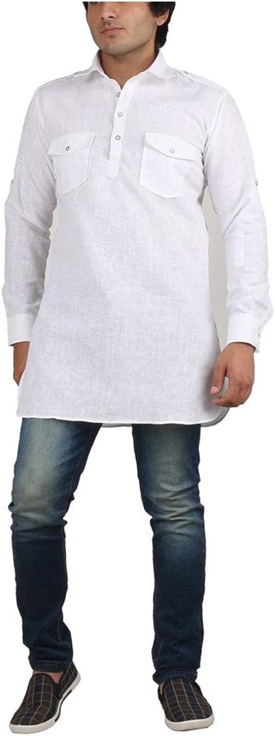 Royal Men's White Fine Cotton Short Pathani Kurta for Denim's Kurta