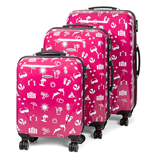 MasterGear Design Suitcase Set with ABS Hard Shell – 4 Spinner Wheels (360 degrees) – Trolleys with Summer Design – Combination Lock – Stackable, Sizes S, M & L