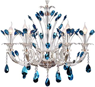 Modern Luxurious K9 Crystal Chandelier Blue Diamond Peacock Candle Lighting Pendant Lamp LED Ceiling Light Flush Mount Fixture for Dining Living Room Bedroom-6 E14 Bulbs Required