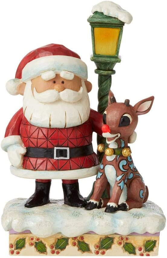 Enesco Jim Shore Rudolph Traditions Santa and Rudolph with Lamp Post Figurine 6009110