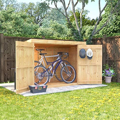 BillyOh Mini Keeper 6x3 Overlap Wooden Pent Bike Log Tool Storage Double Door Roof Felt Store Shed