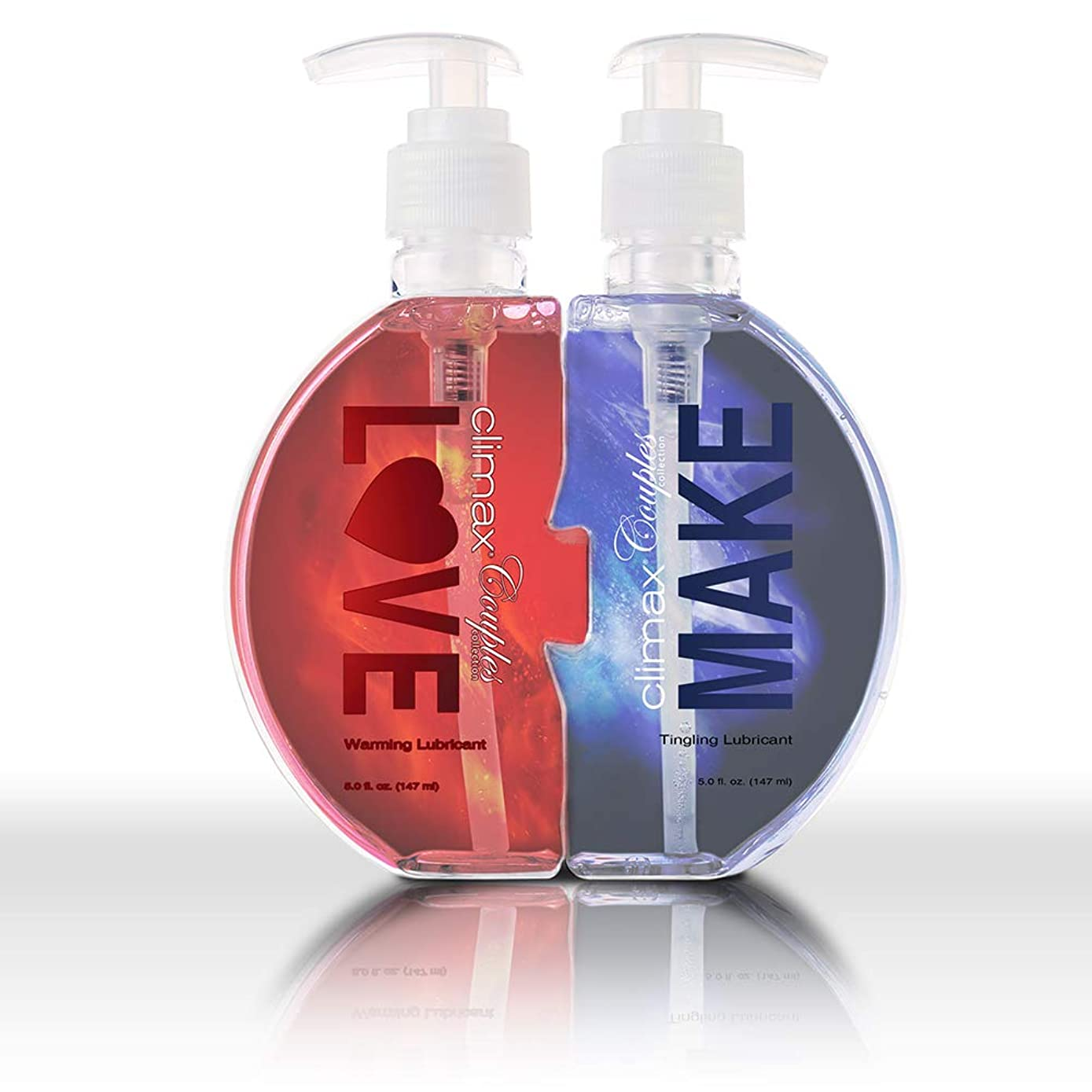 Climax Couples Warming & Tingling Personal Intimate Lubricant Water-Based Extreme Edition, 10 fl.oz. (in 2 Bottles), Heat for Men Tingle for Women, no Stain Easy to Clean, Discreet Packaging