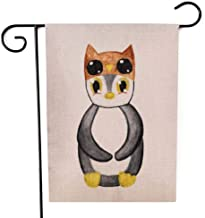 Shorping Farm Garden Flag, Fall Garden Flag 12.5X18Inch Xmas House Yard Flag Watercolor Penguin Word Day Animal in Owl Hat Print Card Cup April for Holiday and Seasonal Garden Flag Yards Flags