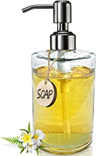 JASAI 16OZ Cylinder Glass Soap Dispenser with Rust Proof Stainless Steel Pump, Refillable Bathroom Soap Dispenser for Hand Soap, Dish Soap, Liquid Soaps and Kitchen (Clear)