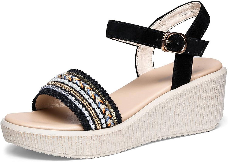 Gailongjunnvxie GLJXG Ladies Wedge Sandals\ Flat Platform Sandals\ Bohemian Sandals\ Summer Women Sandals
