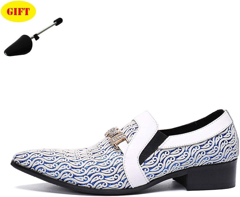 Lok Fu Chaussures Hommes Chaussures En Cuir Pointu Blanc Imprimer Conception Ensembles De Pieds Chaussures Affaires Robe rue Party De Mariage,blanc,EU38 UK5.5