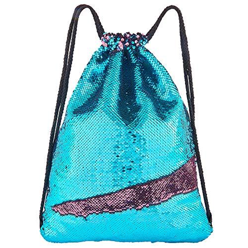 Play Tailor Meerjungfrau Umkehrbare Paillette Drawstring Rucksack Glitzernde Outdoor Schultertasche