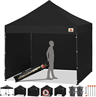 ABCCANOPY Canopy Tent Popup Canopy 10x10 Pop Up Canopies Commercial Tents Market stall with 6 Removable Sidewalls and Roller Bag Bonus 4 Weight Bags and 10ft Screen Netting and Half Wall, Dull Black