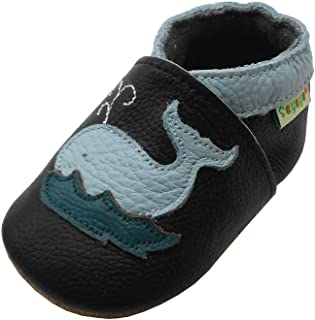 Sayoyo Baby Cute Dolphin Soft Sole Black Leather Infant and Toddler Shoes