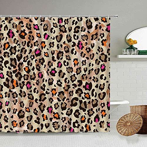 Afrikanischer Stil Leopard Muster Duschvorhang Wild Animal Print Badezimmer Badewanne Dekoration Geschenk wasserdichte Vorhänge Bildschirm-4_150x180cm