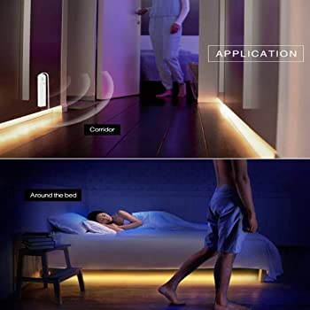 LED Under Cabinet Lighting Motion Sensor, CFGROW 10Ft Four Modes Bed Stairs Wardrobe Lamp Tape, Waterproof 5V USB LED...