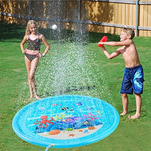 Aufun Kinder Splash Pool 170cm Splash Pad, Runden Sprinkler Splash Play Matte, Sommer Garten Wasserspielzeug Spritzen Wasserspielmatte für Outdoor Familie Aktivitäten, Party, Strand - Blau