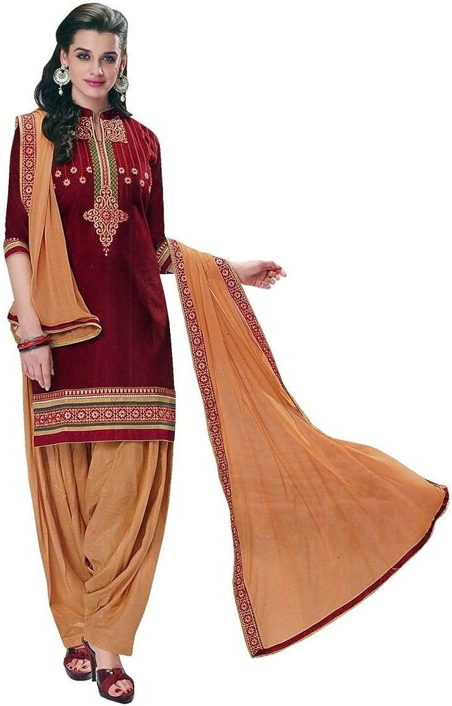 Designer Patiala SalwarEmbroidered DupattaCotton Salwar Kameez
