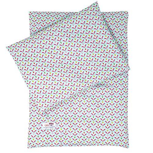 Sugarapple Puppenbettwäsche 3-teilig für Puppen 36-44 cm, Öko-Tex (Druck Aqua)