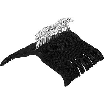 AmazonBasics Lot de 50 Cintres en Velours pour Chemises/Robes, Noir