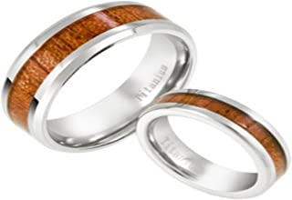 JustMensRings Men`s and Women`s Titanium Natural Koa Wood Rings in 5mm and 8mm Sizes 4-20