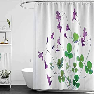 Shower Curtains Beach Themed Flower House Decor Collection,Springtime Garden Wildflowers and Clovers Modern Floral Theme Graphic Print,White Purple Green W72 x L72,Shower Curtain for Shower stall