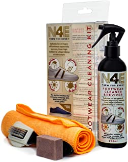 N4E Shoe Trainers Footwear Cleaner, Restorer & Reviver Care Cleaning Kit - Spray, Brush, Cloth, Block & Sachets