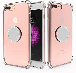 iPhone 8 Plus Clear Case,iPhone 7 Plus/6 Plus Case with Stand,Yetolee Premium Soft TPU Protective Shockproof Case with Kickstand Iron Mirror [Fit Car Mount] for iPhone 8 Plus/ 7 Plus / 6 Plus Clear