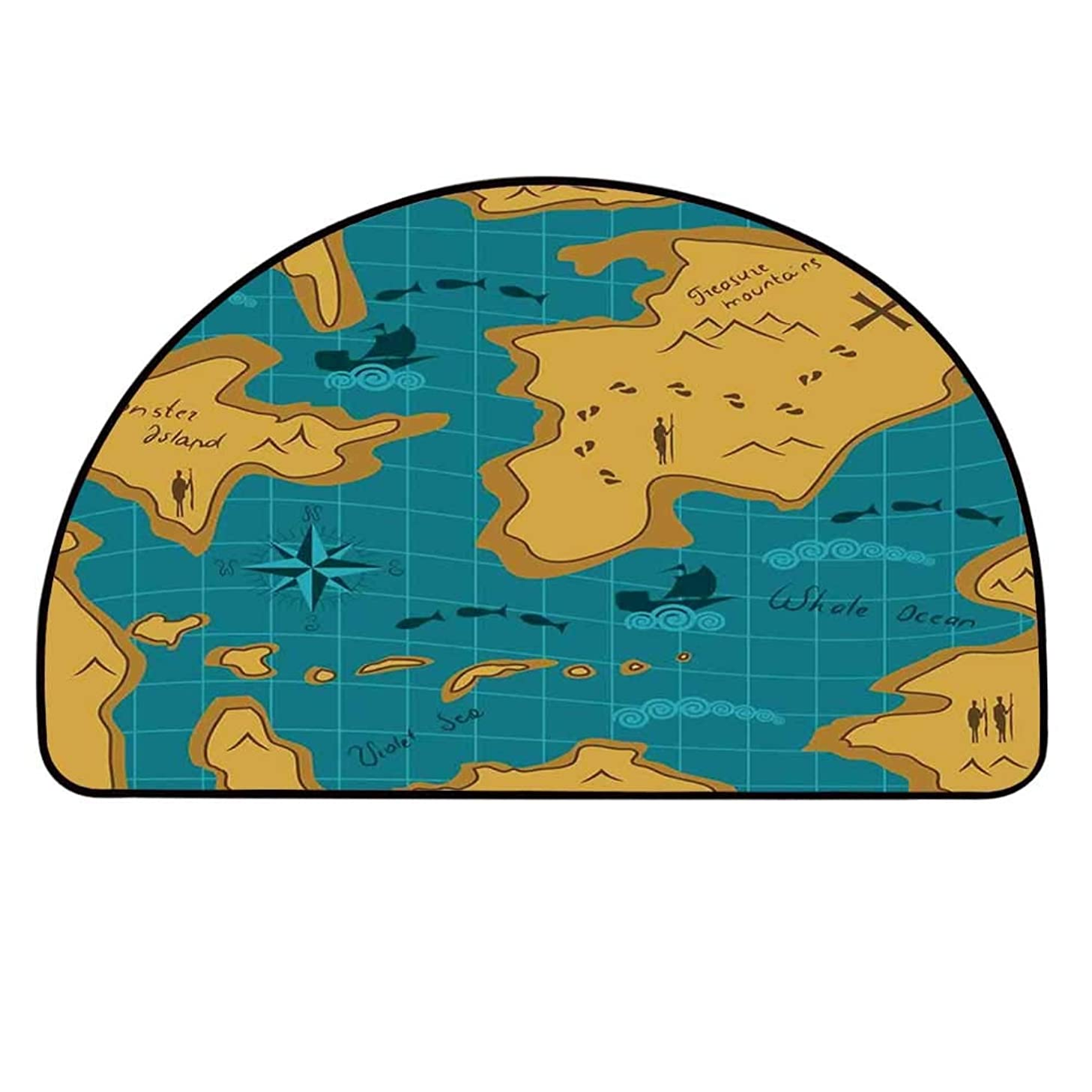 YOLIYANA Island Map Semi Circle Mat,Historical Adventure Map Pattern with Sail Boats Direction Route Track Graphic Carpet Indoor Mat,23.6