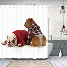 NYMB Dog Lover Decor Bulldog Sleeping Shower Curtain 69X70 inches Polyester Fabric Bathroom Fantastic Decorations Funny Animals Pet Bath Curtains Hooks Included
