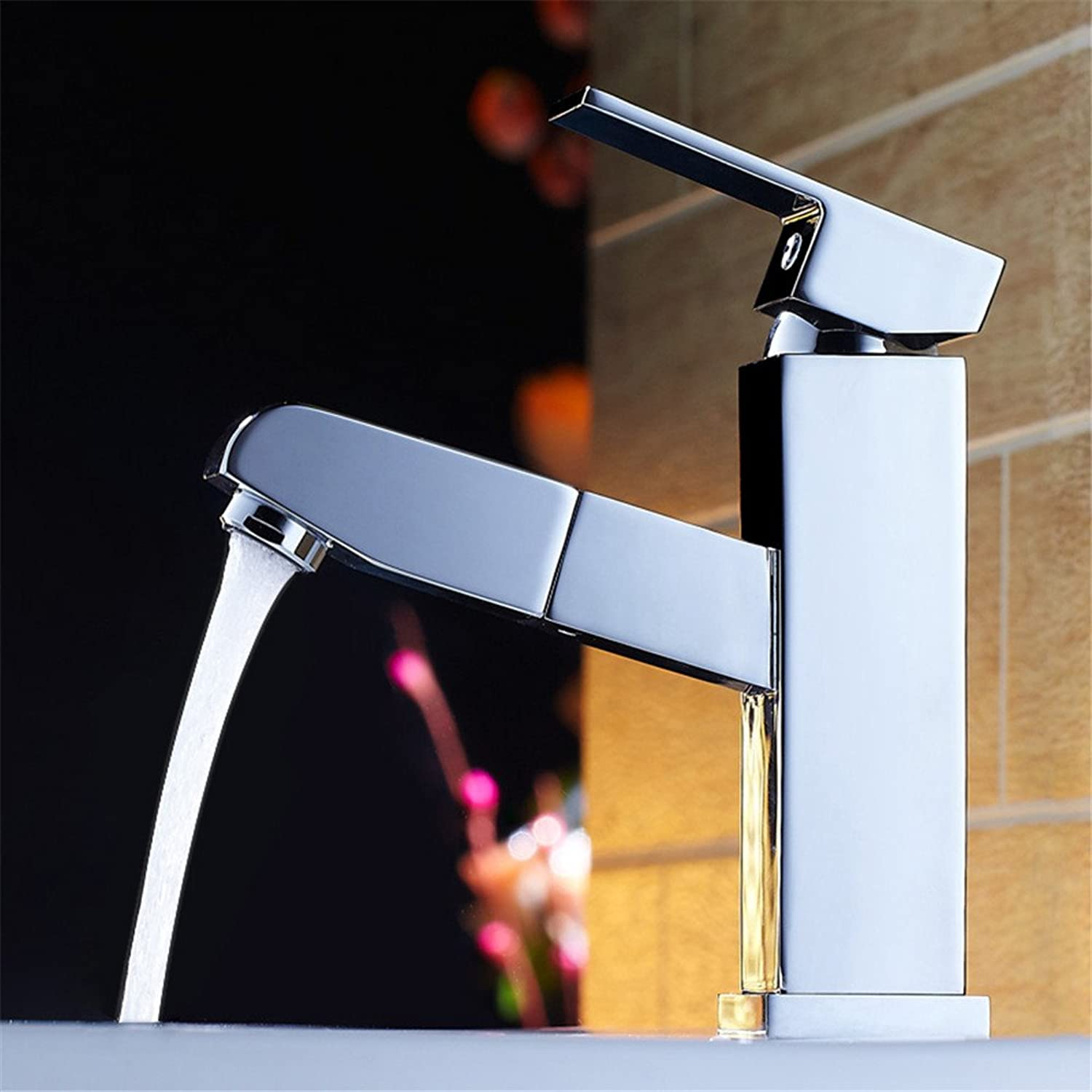 Bijjaladeva Antique Bathroom Sink Vessel Faucet Basin Mixer Tap The copper basin pull faucet hot and cold surface basin washbasin telescopic hand wash basin mixer