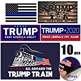 Trump 2020 Sticker 10 Pcs, Trump Bumper Stickers for Presidential Election - Five Different Sticker Designs - Limited Time Offer (PVC Sticker) (10 pcs)