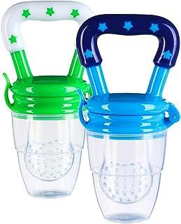 Baby Food Feeder Fresh Fruit Feeding Pacifier Set of 2 Silicone Feeder Teething Toy Teether