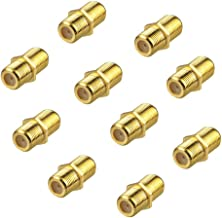 Jabinco (Pack of 10) Gold Plated F-Type Coaxial RG6 Connector,Cable Extension Adapter Connects Two Coaxial Video Cables