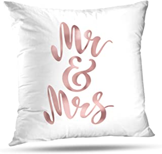 LALILO Throw Pillow Covers Mr and Mrs Brush Pen Lettering Bride Groom Rose Gold Foil Double-Sided Pattern for Sofa Cushion Cover Couch Decoration Home Bed Pillowcase 18x18 inch