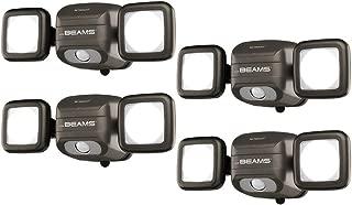 Mr. Beams MBN3000 NetBright 500 Lumen High Performance Wireless Battery Powered Motion Sensing LED Dual Head Security Spotlight (4 Pack), Brown