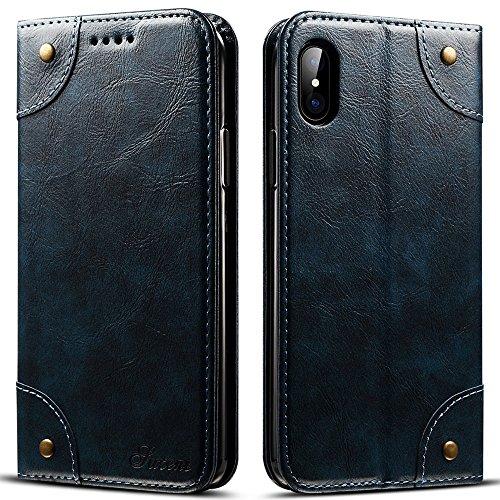 SUTENI Barocco in Pelle iPhone x Custodia, Ecopelle, Dark Blue, iPhone X