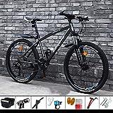 DelongKe 26 Zoll Mountainbike Hardtail - Mountain Bike Mit 30 Gang MTB Fahrrad Für Herren Und Damen Federgabel Gabelfederung,Jungen-Mädchen-Fahrrad & Herren-Damen-Fahrrad,Grau,Spoke Wheel
