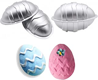 MoldFun 3D Easter Egg Aluminum Bath Bomb Soap Mold for DIY Homemade Bath Fizzies Also As Chocolate Mousse Cake Cupcake Mold (Set of 2, 4 Pieces)