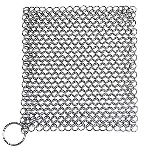 Hemoton Cast Iron Cleaner Stainless Steel Chainmail Scrubber Kitchen Cleaning Tool for Skillet Griddles Cast Iron Pans Grills(8x8 inch)