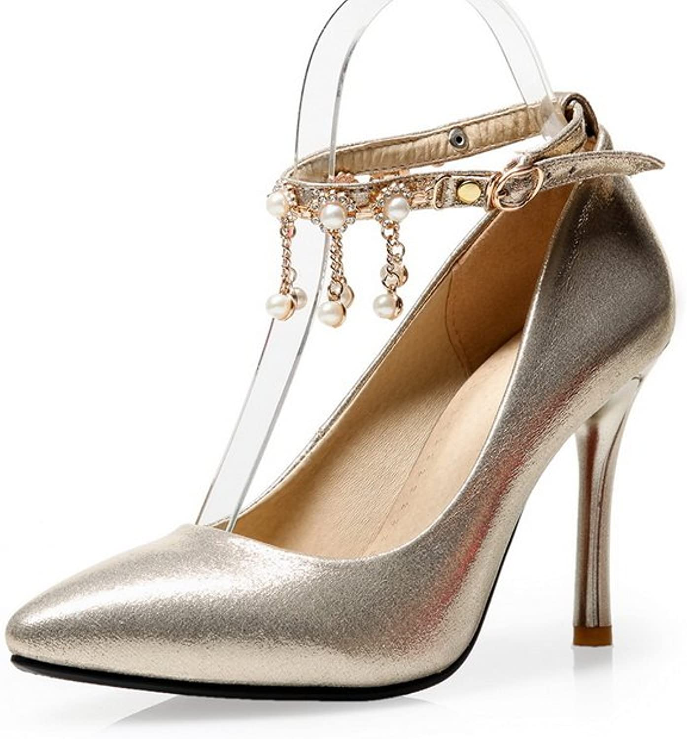 1TO9 Ladies Metal Chain Studded Rhinestones Metal Buckles gold Polyurethane Pumps-shoes - 7 B(M) US