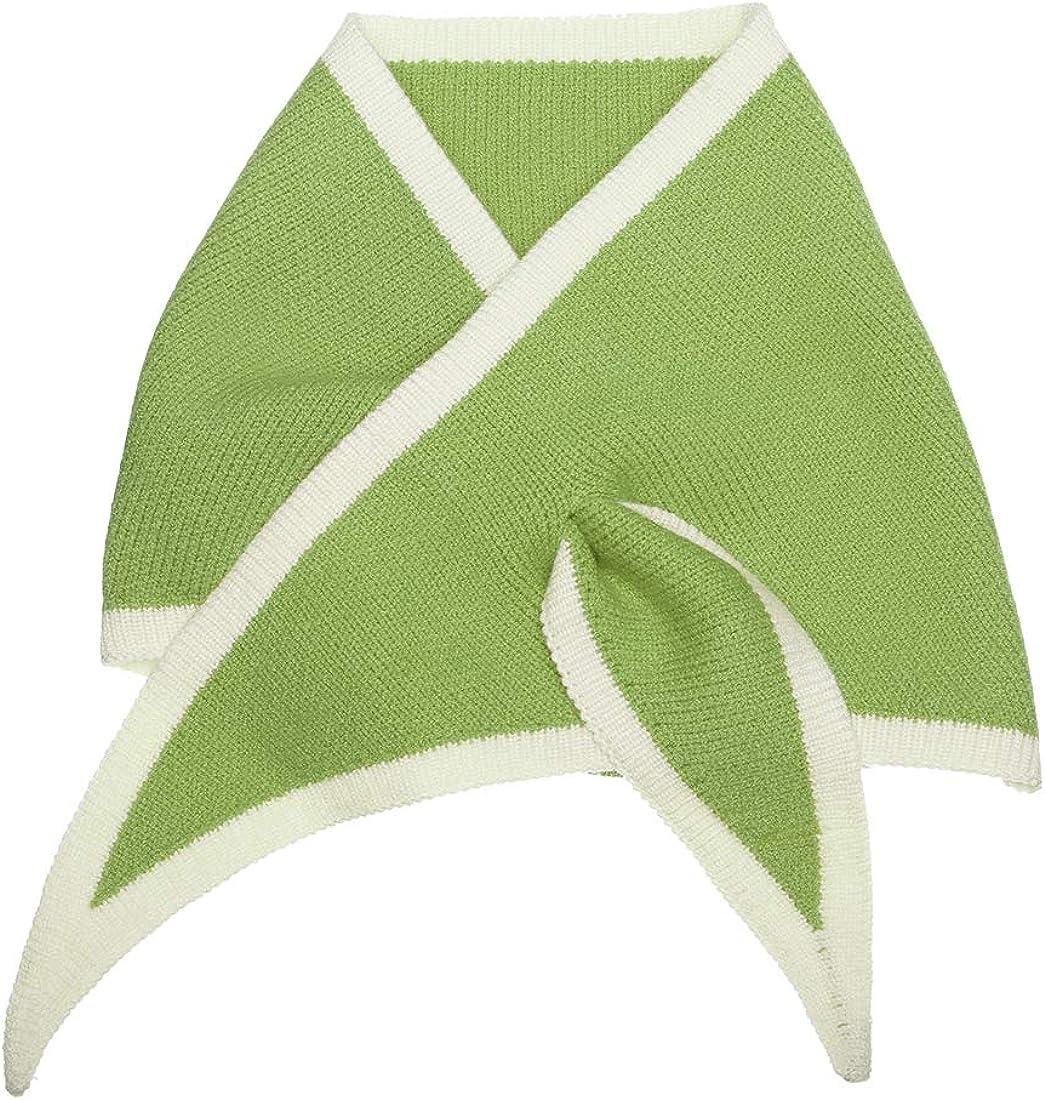 Allegra K Contrast Color Triangle Neck Scarves Knit Scarf Neckerchief Winter Shawl for Women