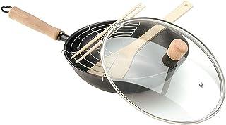 Oroley - Sartén Wok | Hecha de Hierro Fundido | Antiadherente | para Inducción y Todo Tipo de Cocinas | con Tapa | Mango Extraíble | 28 cm