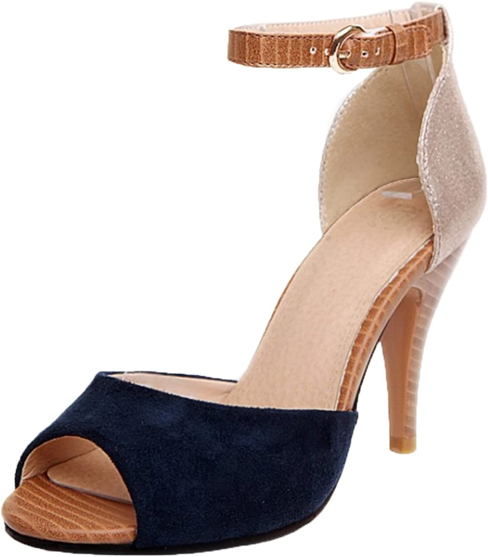 TAOFFEN Women Peep Toe Ankle Strap Sandals shoes