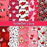 10 Piezas Telas de Algodón de San Valentín Tela Estampada de Corazón Paquetes de Patchwork Acolchado Cuadrado con Patrón de Corazón Flecha Oso para DIY Coser Bolsa (25 x 25 cm)